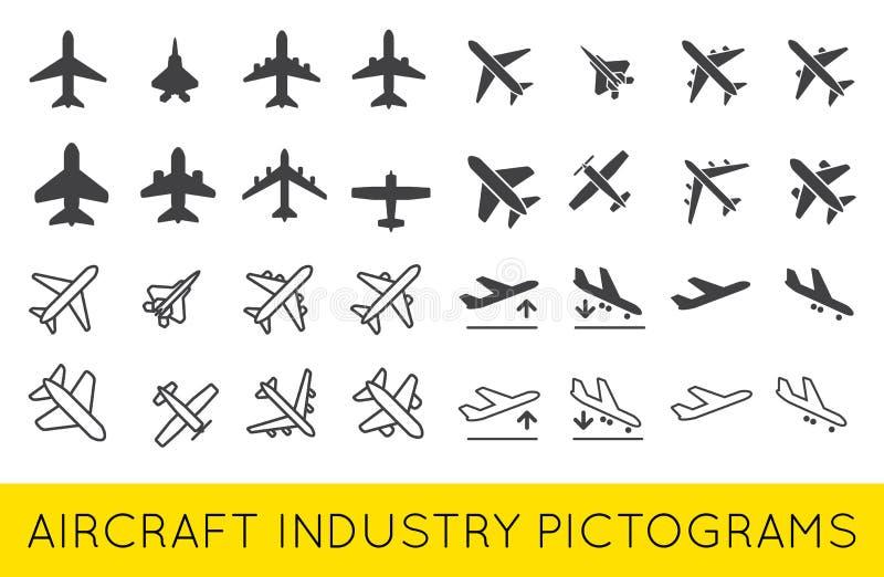航空器或飞机象设置了汇集传染媒介SilhouetteSet 库存例证
