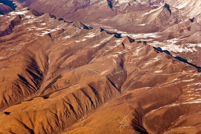 从航空器的看法到喜马拉雅山的山 库存图片
