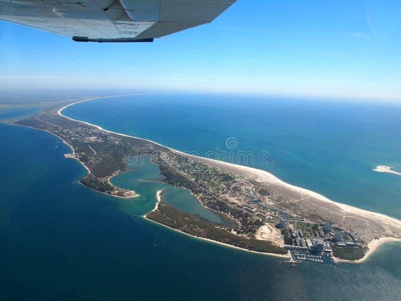 从航空器的Comporta葡萄牙海岸 图库摄影
