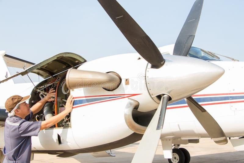 航空器设计与几的检查befor飞行 库存照片