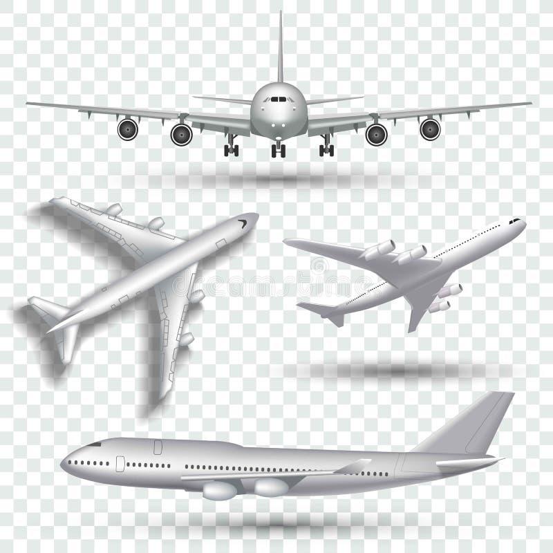 航空器,飞机,在另外观点传染媒介的班机 套空中飞机前方和上面例证 库存例证