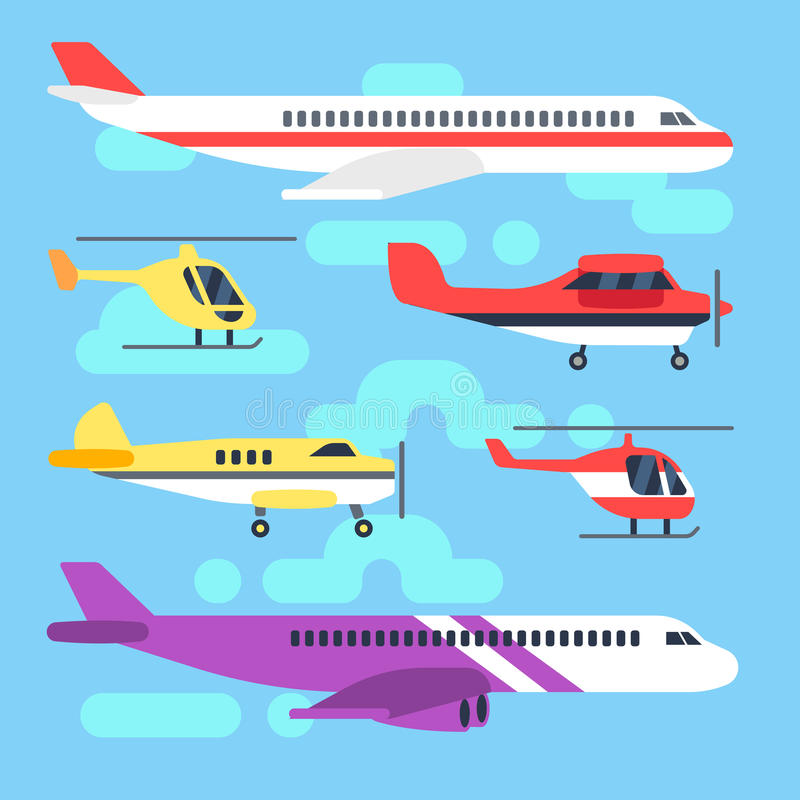航空器,飞机,飞机,直升机平的象传染媒介集合 皇族释放例证