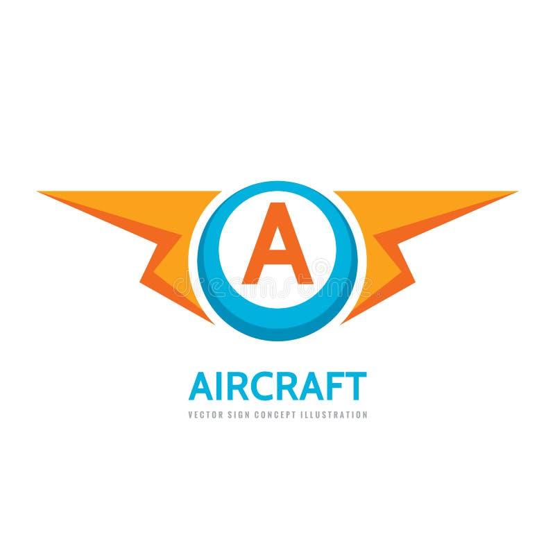 航空器-传染媒介企业商标模板在平的样式的概念例证 在A创造性的标志上写字 力量能量闪电标志 库存例证
