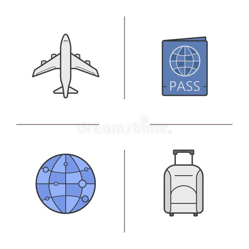 航空旅行被设置的颜色象 库存例证