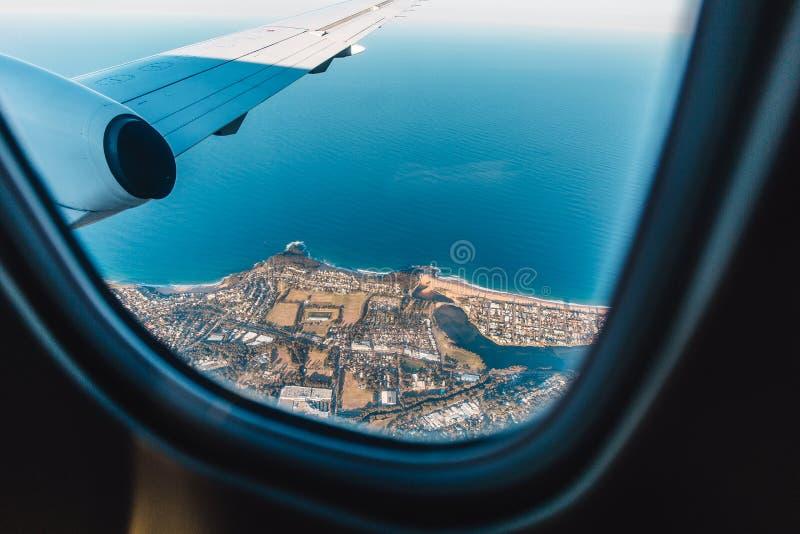 航空旅行,飞机窗口,在澳大利亚,海景 库存照片
