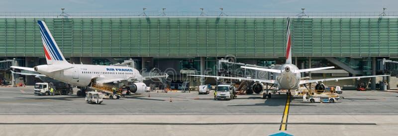 航空机场法国全景飞机 免版税图库摄影