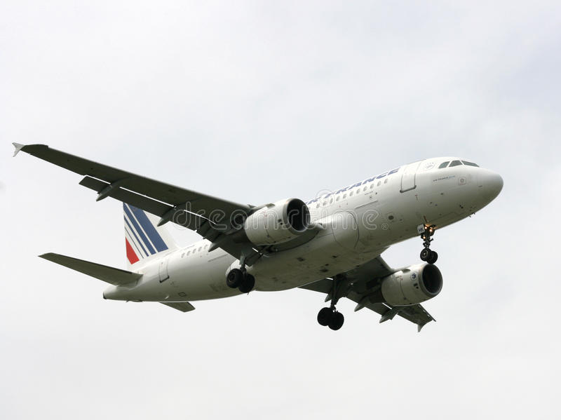 航空空中巴士法国着陆 库存图片