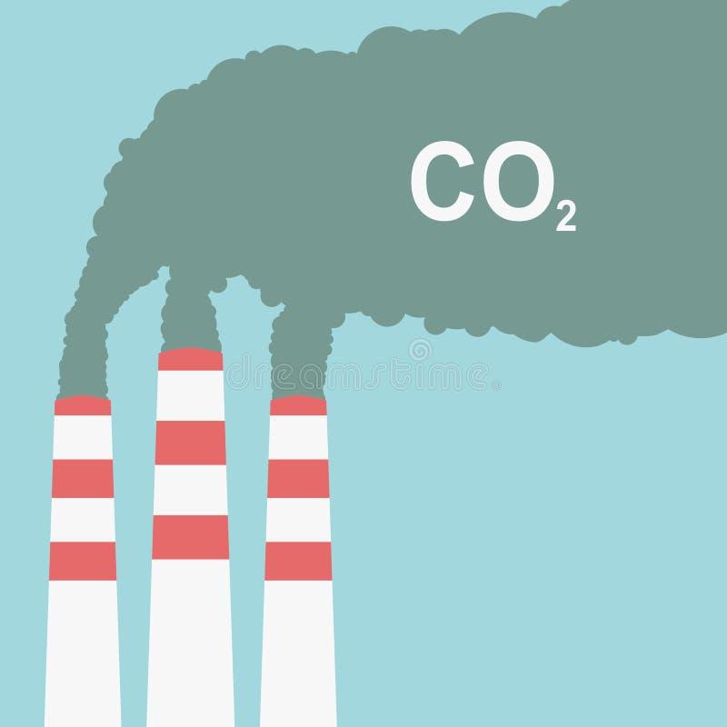 航空背景蓝色工厂污染 工厂或散发烟的能源厂 在平的样式的抽烟的工厂概念 也corel凹道例证向量 向量例证
