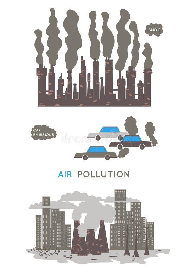 航空背景蓝色工厂污染 生态问题概念 工厂和汽车污染环境 库存例证