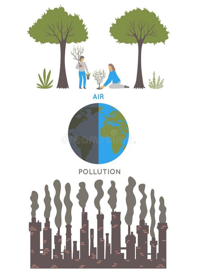 航空背景蓝色工厂污染 生态问题概念 工厂污染环境 向量例证