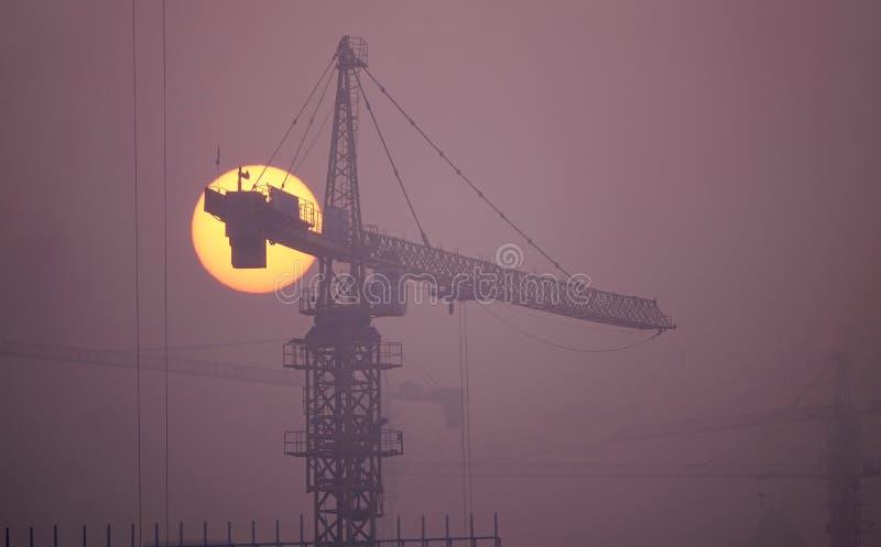 航空背景蓝色工厂污染 库存照片