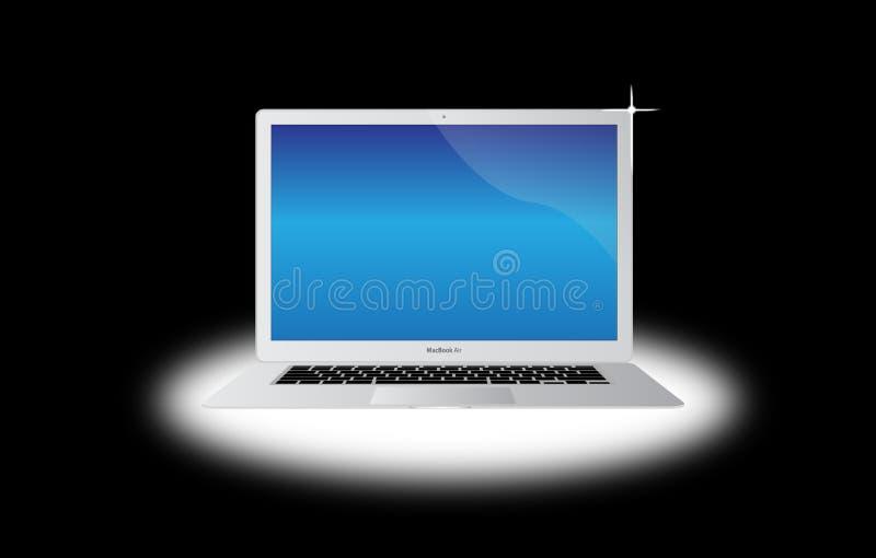 航空苹果膝上型计算机macbook 库存例证
