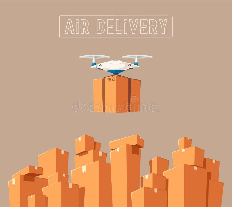 航空邮寄的寄生虫 现代技术 外籍动画片猫逃脱例证屋顶向量 皇族释放例证