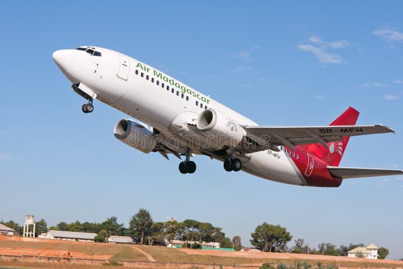 航空马达加斯加平面起飞 免版税库存图片