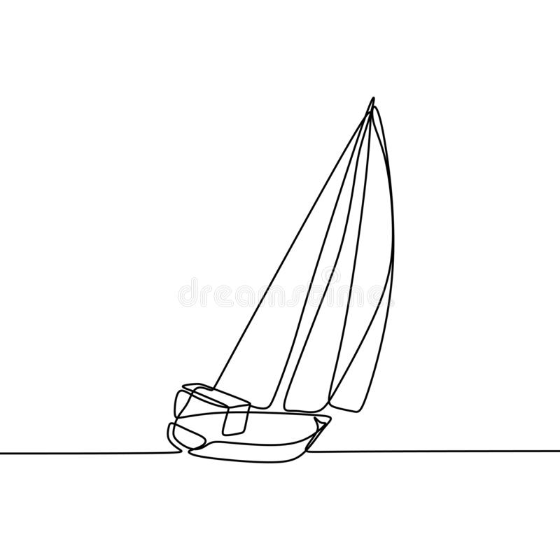 航行一线描连续的lineart设计最低纲领派样式 库存例证