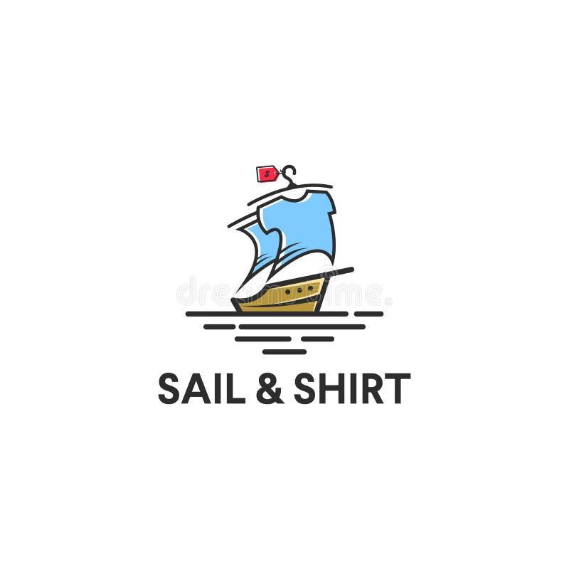 航行与衬衣的游艇商标在风帆屏幕想法,五颜六色和年轻 库存例证