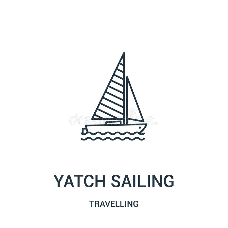 航行从旅行的收藏的yatch象传染媒介 稀薄的线航行概述象传染媒介例证的yatch r 皇族释放例证