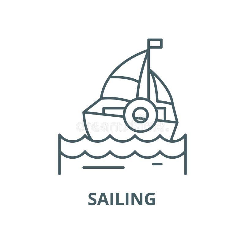 航行传染媒介线象,线性概念,概述标志,标志 皇族释放例证