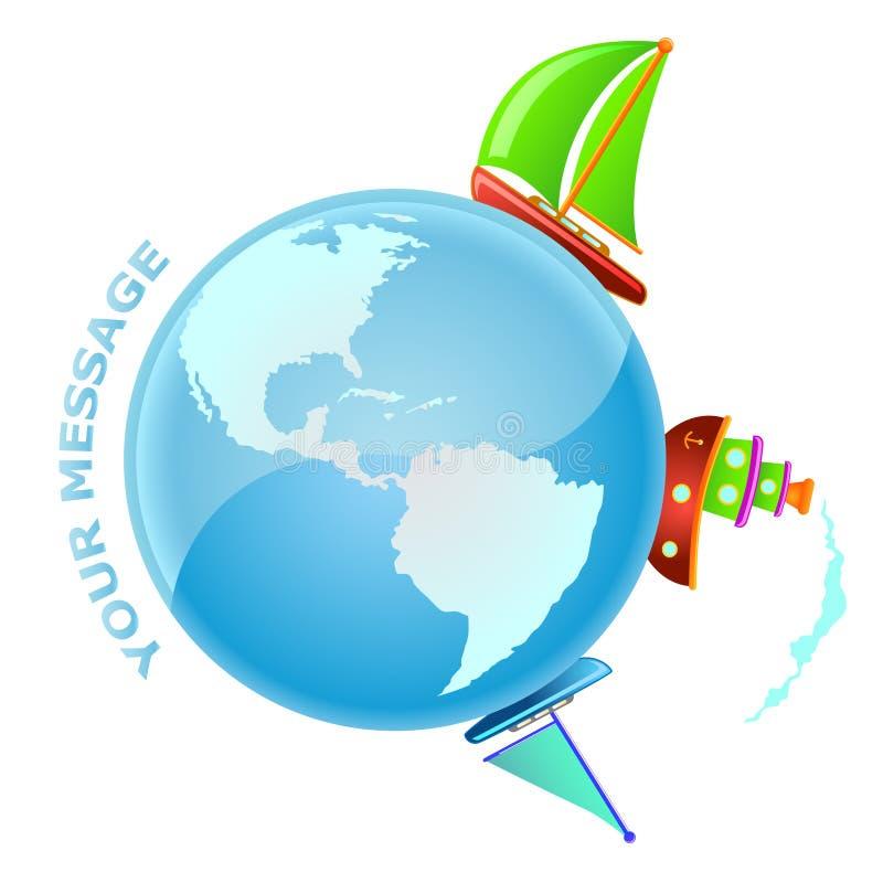 航行向量世界 库存例证