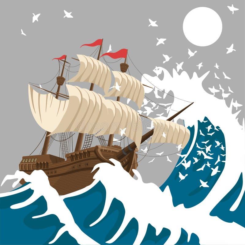 航行在强的风暴的船在晚上在海洋或海在月亮下 向量例证