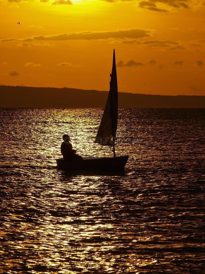 航行在日落 免版税库存照片