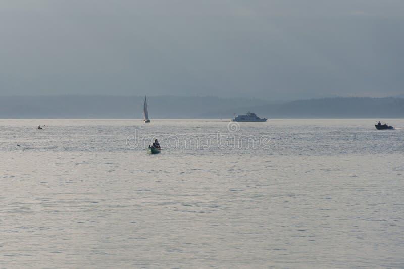 航行在皮吉特湾水中 库存照片