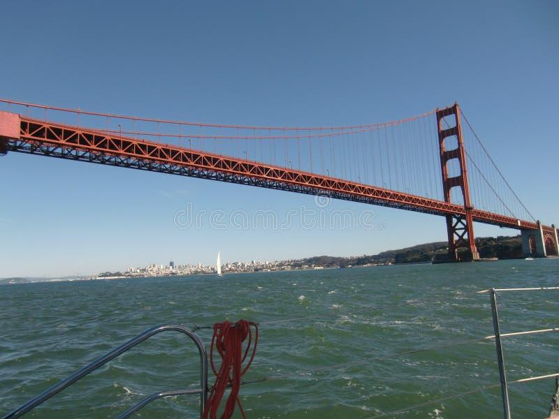 航行在金门大桥下 库存照片