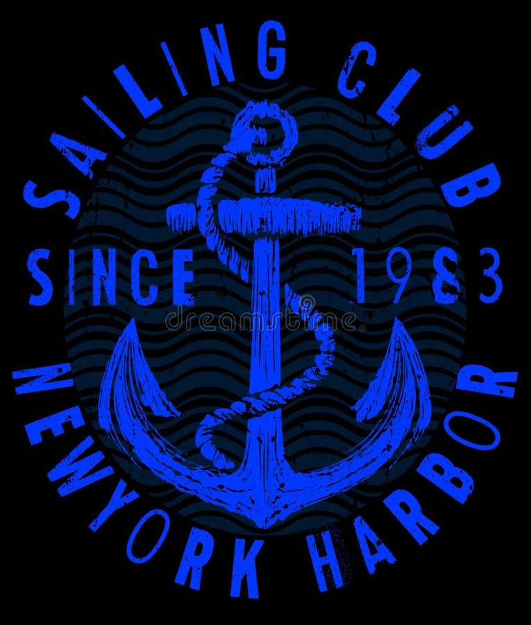 航行海报设计模板 与sailboa的抽象背景 库存例证