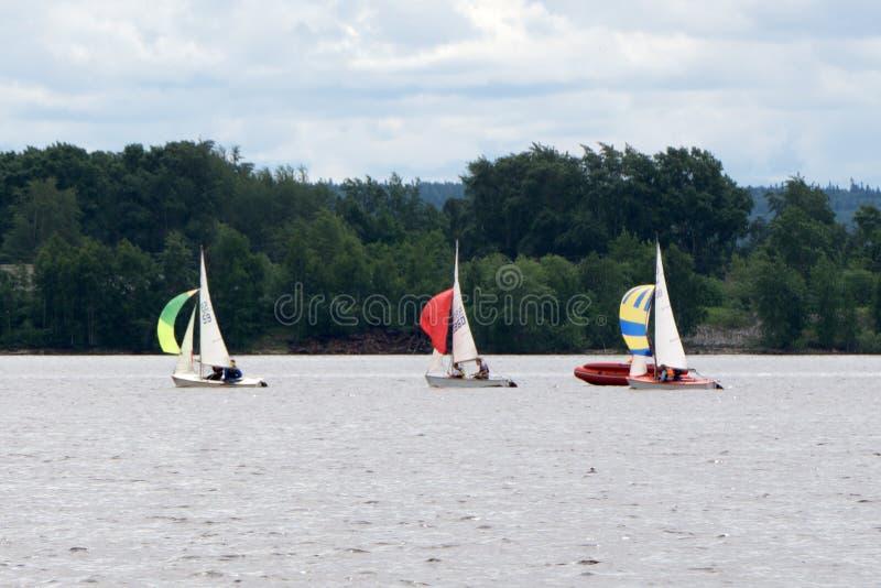 航行游艇况赛 参加航行竞争的队运动员 风船 消遣水上运动,极端体育行动 免版税库存图片
