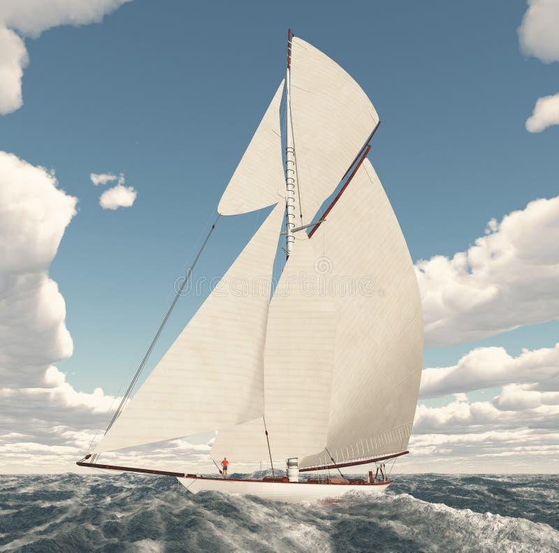 航行游艇在公海 向量例证