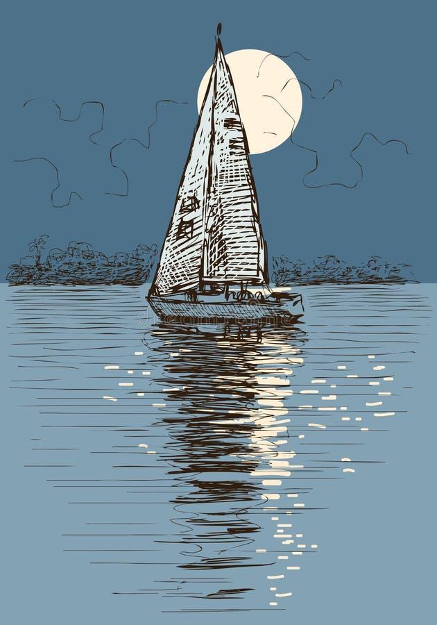 航行游艇在被月光照亮夜 向量例证
