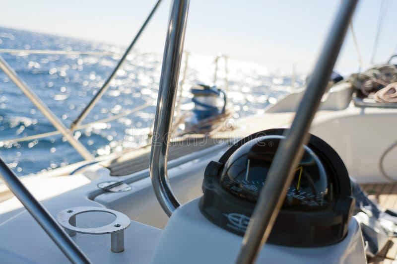 航行游艇指南针 免版税库存图片