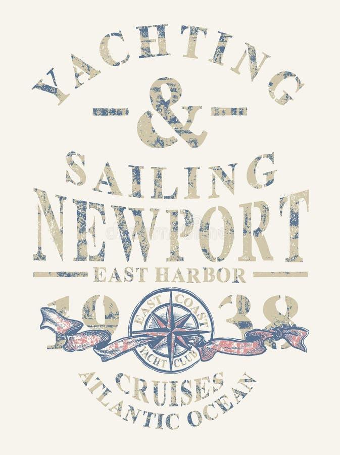 航行的纽波特乘快艇和 库存例证