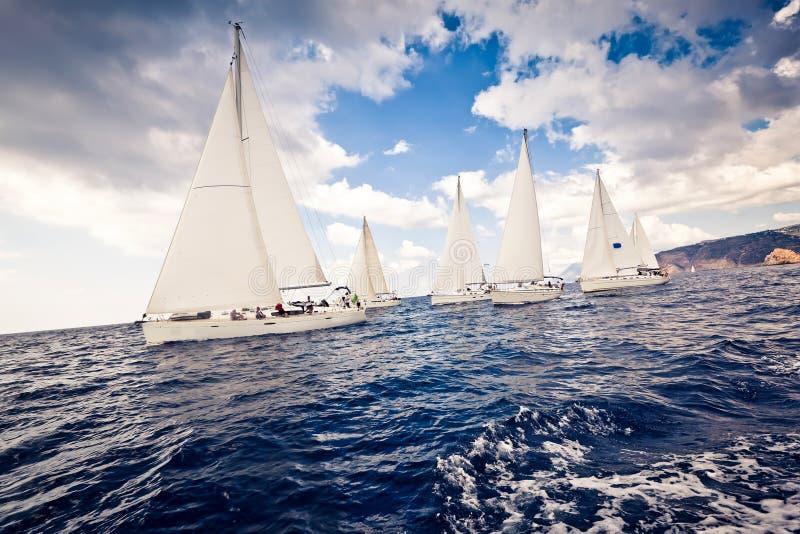 航行风帆发运空白游艇 库存照片