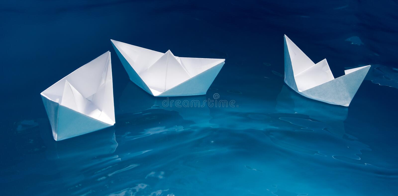 舰队纸张船 库存照片