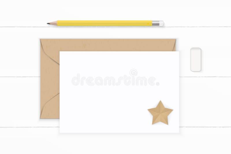 舱内甲板在木的被放置的顶视图典雅的白色构成信件牛皮纸信封黄色橡皮和星形状工艺 向量例证