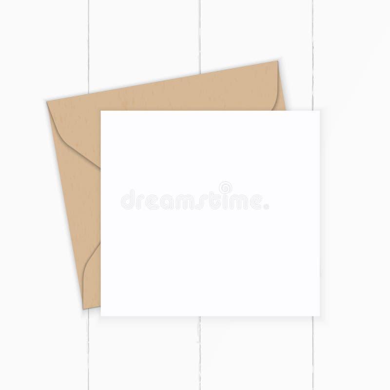 舱内甲板在木背景的被放置的顶视图典雅的白色构成信件牛皮纸信封 库存图片