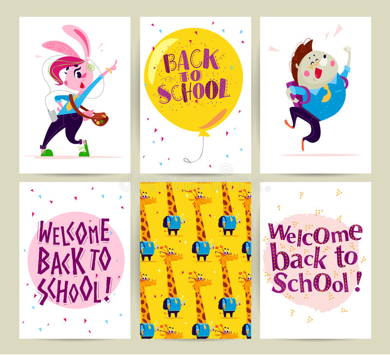 舱内甲板的汇集回到学校卡片设计的与字法、动物和无缝的背景 库存例证