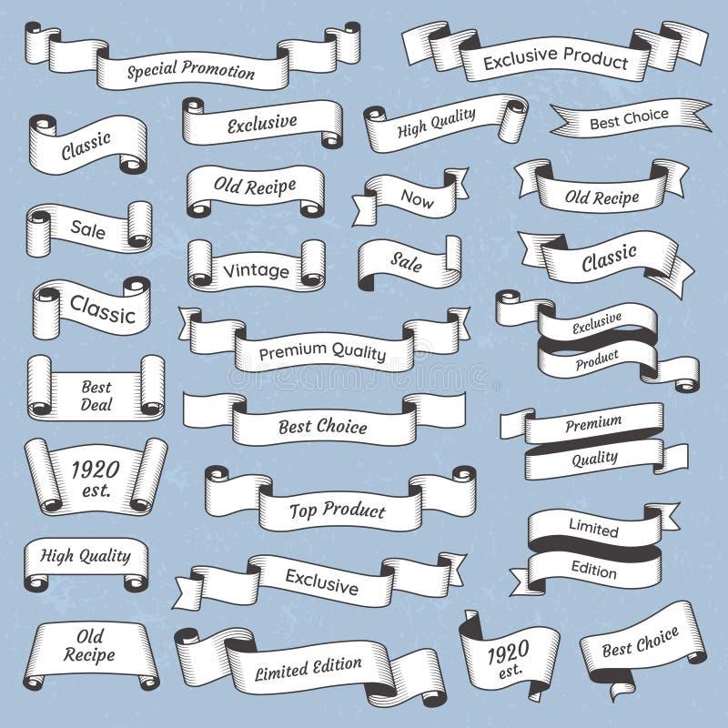 舱内甲板被刻记的葡萄酒标签 老维多利亚女王时代的标记标签或丝带横幅 与文本传染媒介的减速火箭的丝带横幅 库存例证