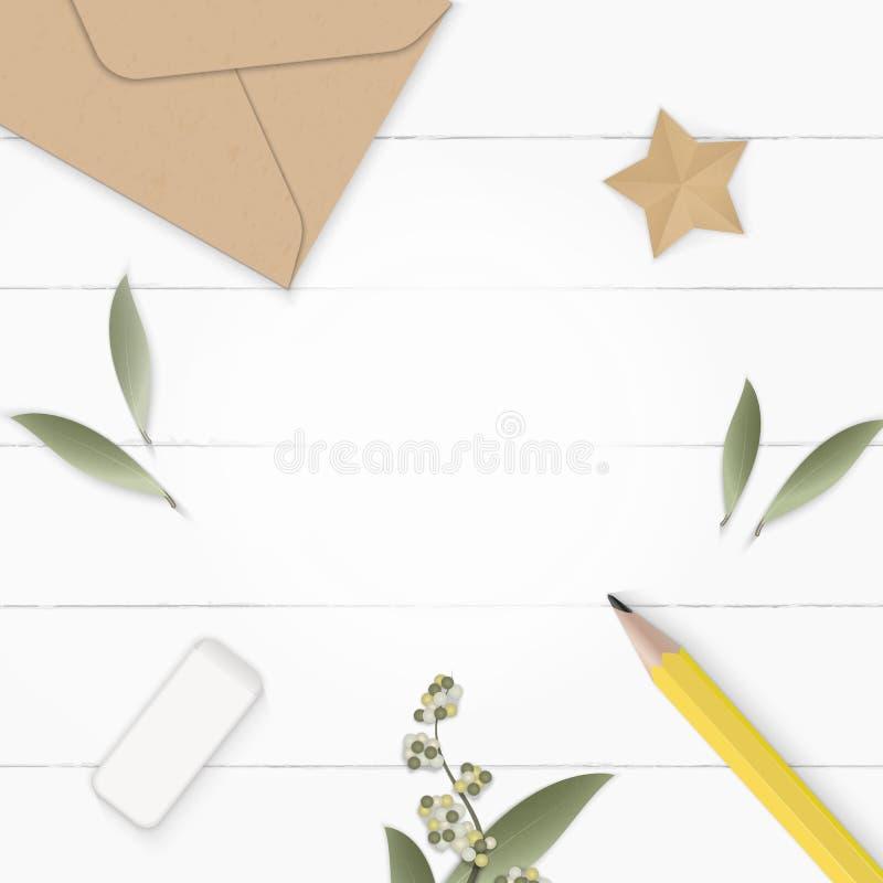 舱内甲板被放置的顶视图典雅的白色构成纸叶子花杉木锥体卡拉服特信封黄色橡皮和星工艺  库存例证