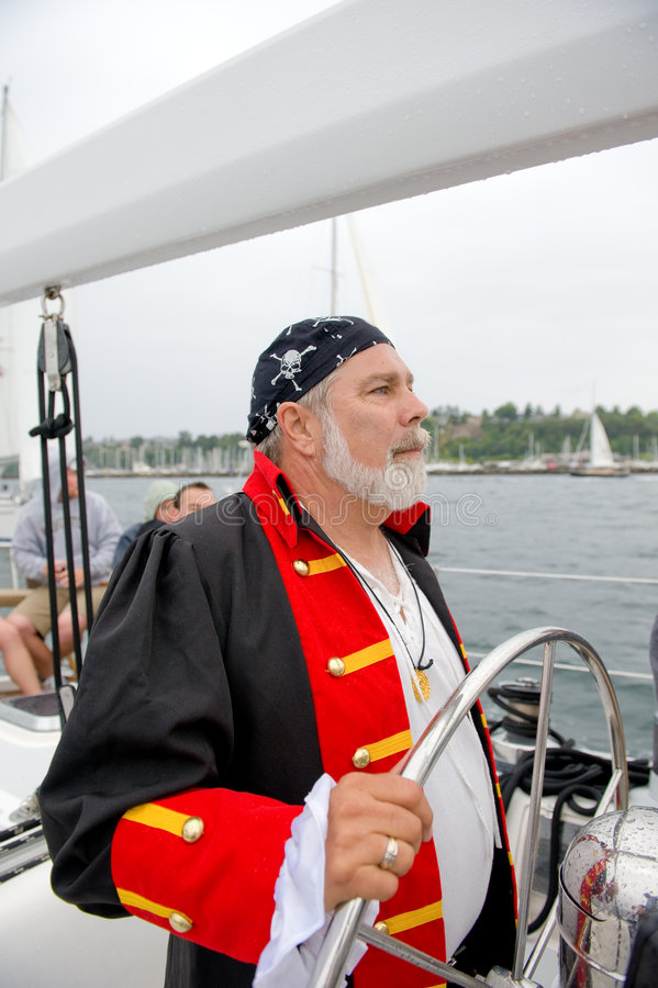 舵海盗风船海运 免版税库存照片