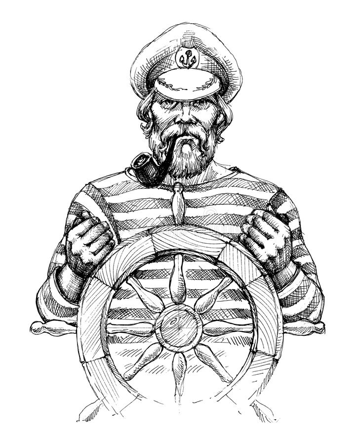 舵画象的水手 库存例证
