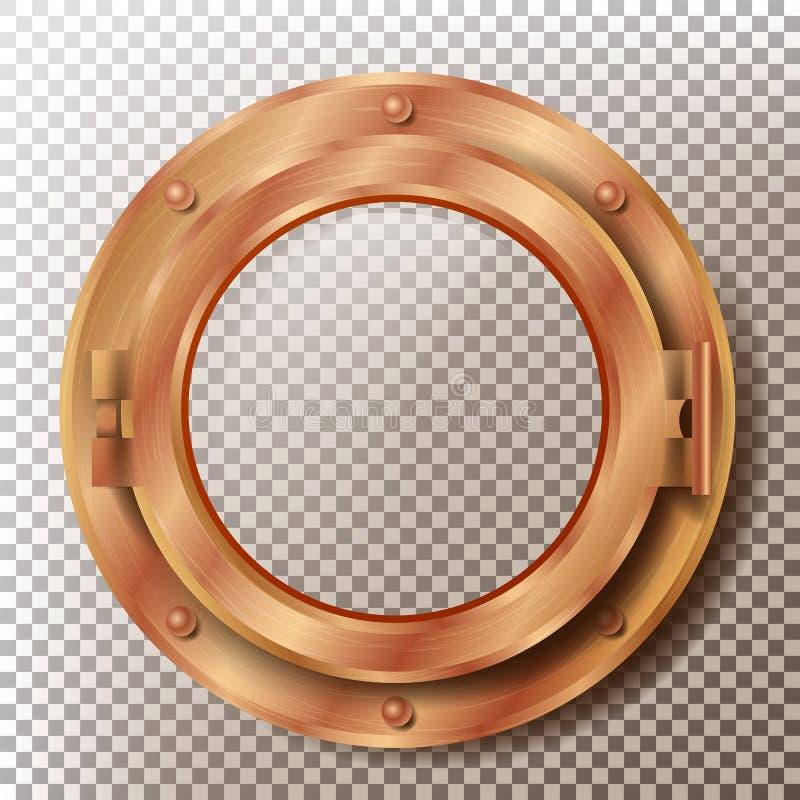 舷窗传染媒介 圆的黄铜,古铜,与铆钉的铜窗口 探测深海小潜艇船金属框架设计元素 为 库存例证