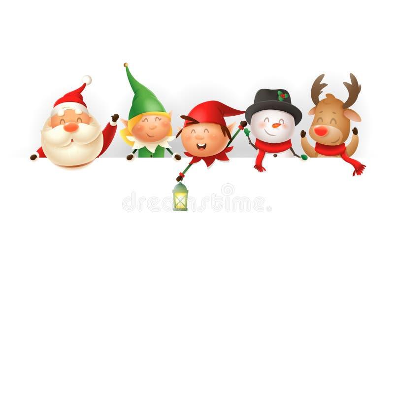船上的圣诞朋友 — 圣诞老人、精灵女孩和男孩、雪人和驯鹿的模板 — 矢量图插图 库存例证
