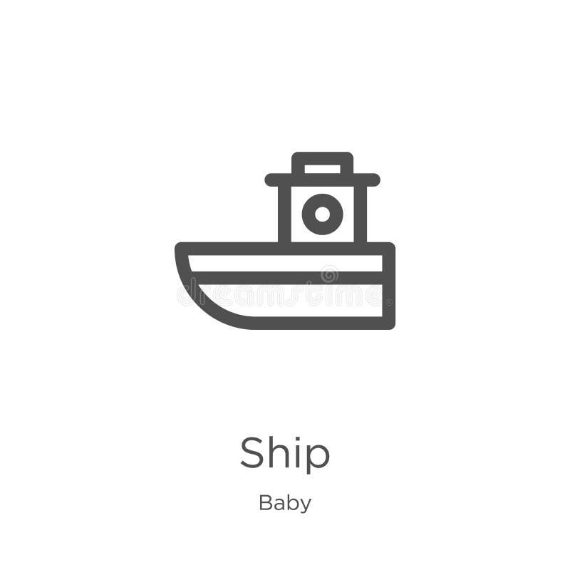 船从婴孩汇集的象传染媒介 稀薄的线船概述象传染媒介例证 概述,稀薄的线网站的船象 向量例证
