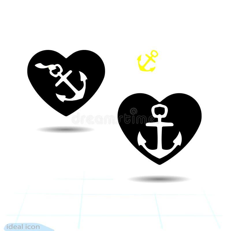 船停住与象征的黑心脏爱和浪漫史、蜜月或者华伦泰巡航或爱划船和乘快艇, 库存例证