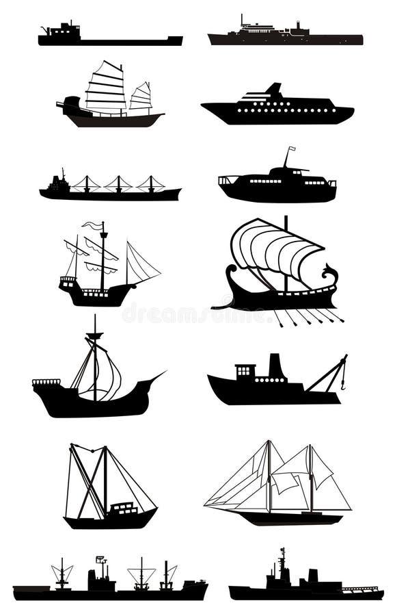 船剪影 向量例证