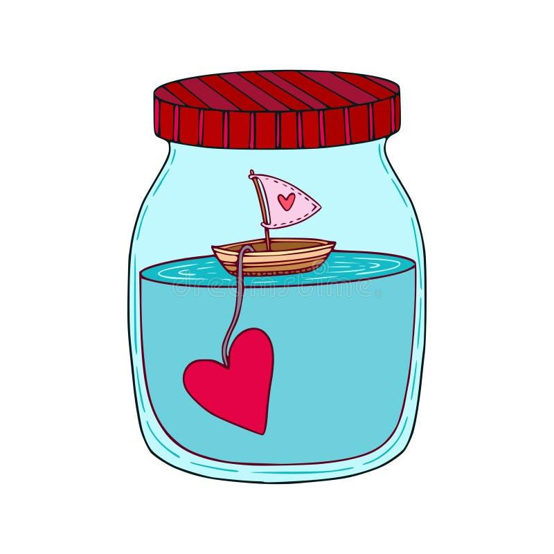 船动画片手拉的艺术有心脏的在一个玻璃瓶子 孩子的设计观念艺术打印,贺卡,男婴海报 ? 皇族释放例证
