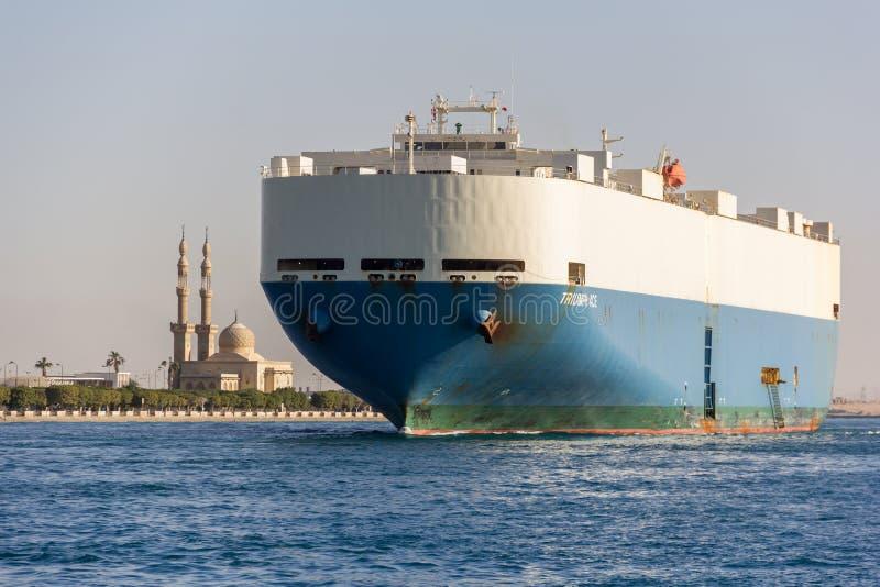 船发怒苏伊士运河 库存照片
