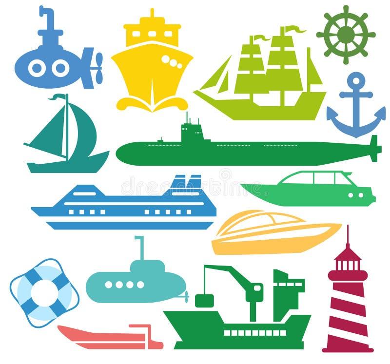 船和小船 向量例证